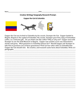 CREATIVE WRITING/GEOGRAPHY RESEARCH PROMPT: COPPER THE CAT & COLOMBIA