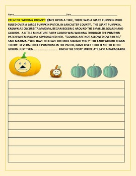 CREATIVE WRITING PROMPT FOR AUTUMN/ HALLOWEEN:TROUBLE IN THE PUMPKIN PATCH!