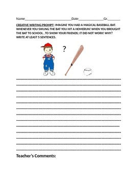 CREATIVE WRITING PROMPT: GR 2-4: THE BASEBALL BAT