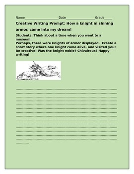 CREATIVE WRITING PROMPT: HOW A KNIGHT IN SHINING ARMOR CAM