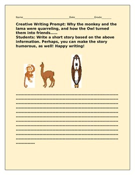 CREATIVE WRITING PROMPT: THE MONKEY, THE LAMA, AND THE OWL