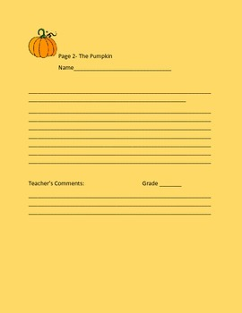 CREATIVE WRITING PROMPT: THE PUMPKIN,  GRADES 4-8