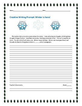 CREATIVE WRITING PROMPT: WINTER IS HERE!