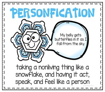 Snowflakes Creative Writing in First Person Snippets for 2nd 3rd and 4th Grade