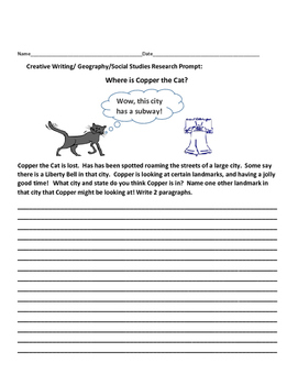 CREATIVE WRITING/SOCIAL STUDIES RESEARCH PROMPT: COPPER THE CAT IS LOST!