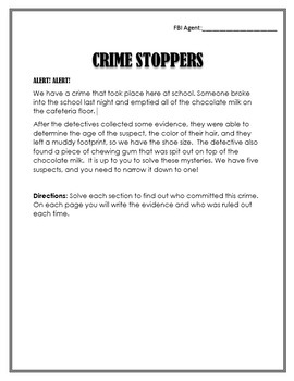 CRIME STOPPERS: A Percent Activity / Project - 6th Grade Math Fun