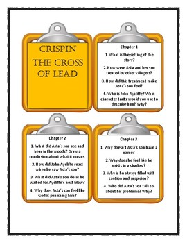 CRISPIN - THE CROSS OF LEAD by Avi - Discussion Cards