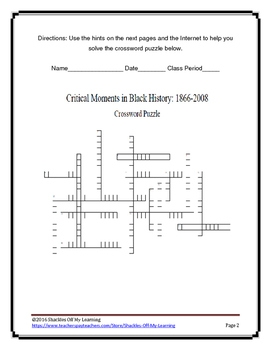 CRITICAL MOMENTS IN BLACK HISTORY 1866-2008 : Crossword Puzzle