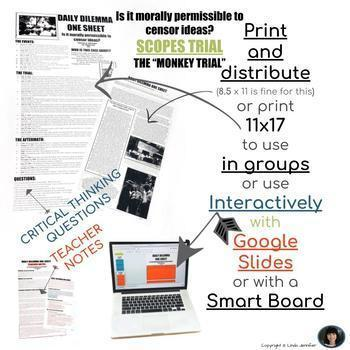 CRITICAL THINKING DILEMMA ONE SHEET AND INFOGRAPHIC: FOCUS ON THE SCOPES TRIAL