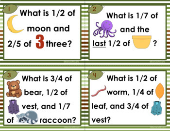 VOCABULARY TASK CARDS Set 2 Forest Vocabulary Activities Fractions HOTS