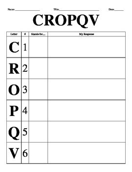 CROPQV Reading Strategy Wall Posters and Reading Response Sheet