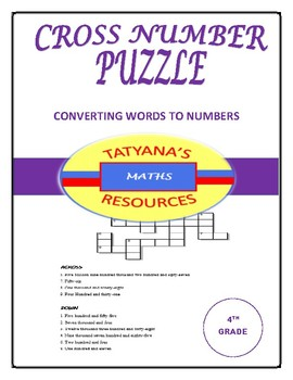CROSS NUMBER PUZZLE - CONVERTING WORDS TO NUMBERS