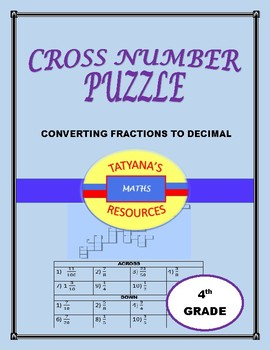 CROSS NUMBER PUZZLE - Converting Fractions to Decimals