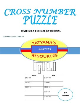 CROSS NUMBER PUZZLE - Dividing decimal by decimal