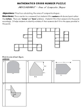 CROSS NUMBER PUZZLE - Measurement of Composite Shapes