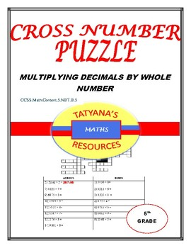 CROSS NUMBER PUZZLE - Multiplying decimals by whole number