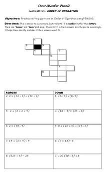 CROSS NUMBER PUZZLE - Order of Operation