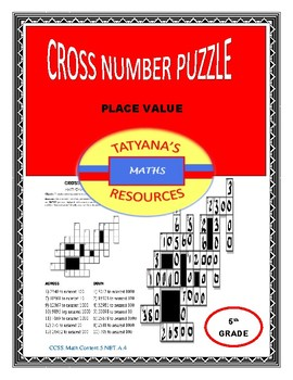 CROSS NUMBER PUZZLE - PLACE VALUE