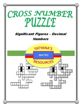 CROSS NUMBER PUZZLE - Significant Figures -Decimal Numbers