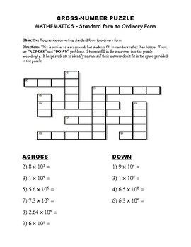 CROSS NUMBER PUZZLE - Standard form to Ordinary Form