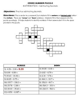 CROSS NUMBER PUZZLE - Subtracting Decimals