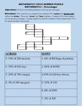 CROSS NUMBER PUZZLE - Worded Problems involving percentages