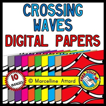 CROSSING WAVES DIGITAL PAPER BACKGROUNDS RAINBOW CLIPART