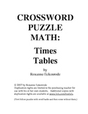 CROSSWORD PUZZLE MATH: Times Tables