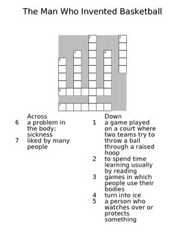 "CROSSWORD PUZZLE/ "" The Man Who Invented Basketball""/ READING STREET"