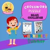 CROSSWORD PUZZLE Summer worksheet Boost brain power for kindergarten , Grade 1