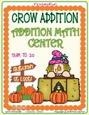 CROW ADDITION SUM TO 20 FALL MATH CENTER GAME, WORKSHEET AND KEY MAFS COMMON COR