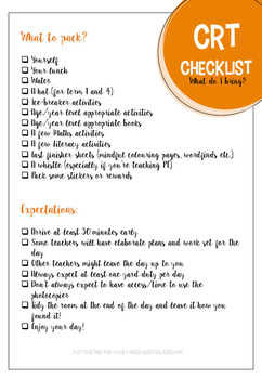 CRT / Substitute Teacher Checklist