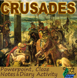 CRUSADES: powerpoint, activity, & cloze notes sheet