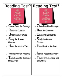 CRUSH IT!   Test-Taking Strategy Poster and Bookmarks