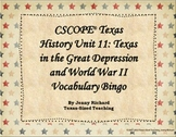 TRS®/CSCOPE® Texas History Unit 11: Great Depression & WWII Vocabulary Bingo