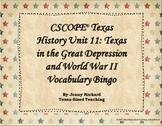 Texas History Unit 11: Great Depression & WWII Vocabulary Bingo