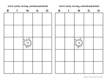 TRS®/CSCOPE® Texas History Unit 9: Cattle, Farming, & Railroads Vocab Bingo