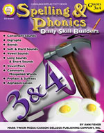 Daily Skill Builders: Spelling and Phonics: Grades 3-4 by Mark Twain Media