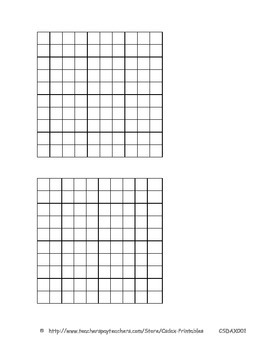 photograph regarding 10x10 Grids Printable known as Blank 10x10 grid - 2 for each site (.pdf) (CSDAX001)