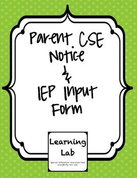 CSE Notice & IEP Input for Parents