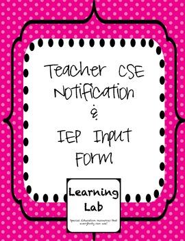 CSE Notice & IEP Input for Teacher