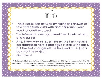 CSET Multiple Subject English Flash Cards