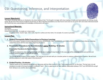 CSI Activity: Questioning, Inference, and Interpretation