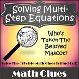 CSI Algebra {Solving Multi Step Equations Activity} {Solving Equations Activity}