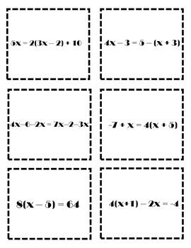 Algebra Games {Solving MultiStep Equations Activity} Algebra 1 Solving Equations