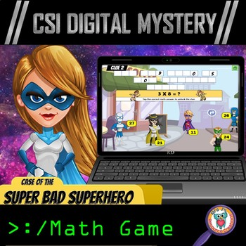 CSI Digital Math Mystery: Case of the Super Bad Superhero (Multiplication Facts)