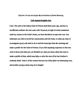 CSI English Unit/ My Last Duchess by Robert Browning