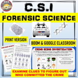 CSI Forensic Science. Who done it? Print & Google Classroom | Distance Learning.