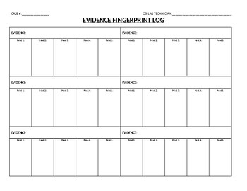CSI Lab Fingerprint Evidence Log