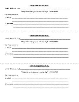 CSI Lab Handwriting Sample Form